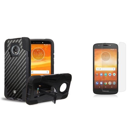 Optic Screen Protector 12 Layer - Slim Dual Layer Impact Resistant Kickstand Case (Carbon Fiber) with Bubble-Free Tempered Glass Screen Protector and Atom Cloth for Moto E5 Play