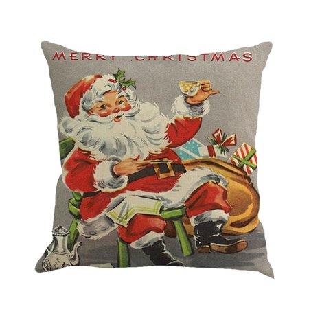 Hot Sale Merry Christmas Home Shops Sofa Bed Car Seat Dyeing Printed Square Pillow Case Decorative Cushion Cover Xmas Home Festival - Christmas Covers