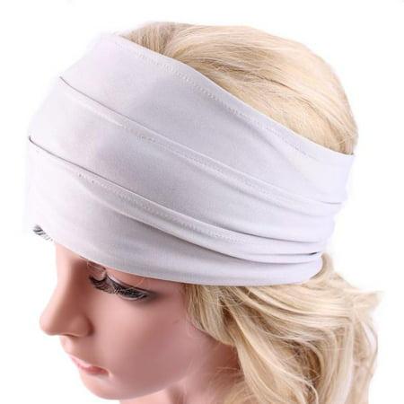 Wide Headband Yoga Headband Boho Headband Running Headband White ... 48e85159619