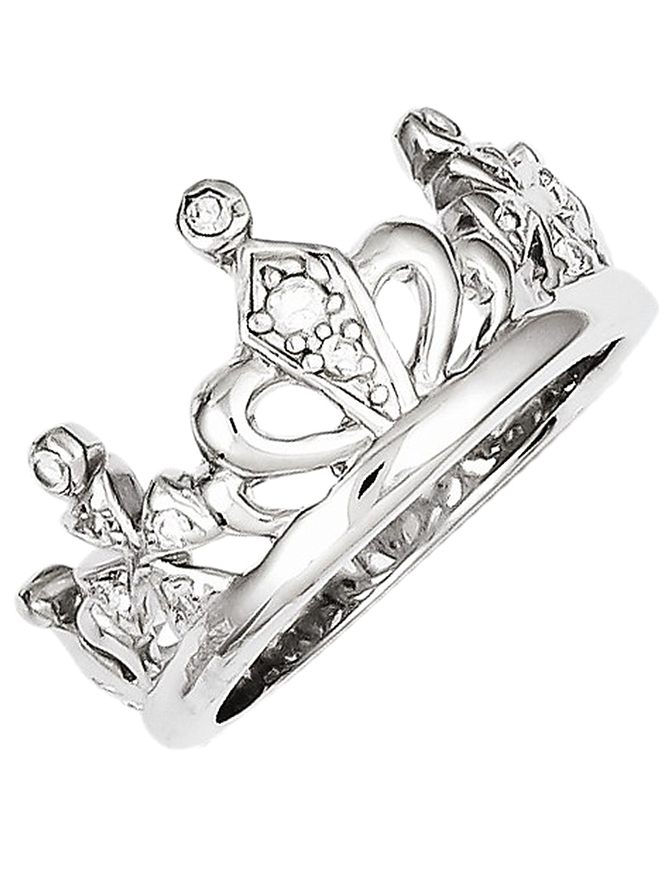 925 Sterling Silver White Synthetic Cubic Zirconia Fancy Crown Heart Ring