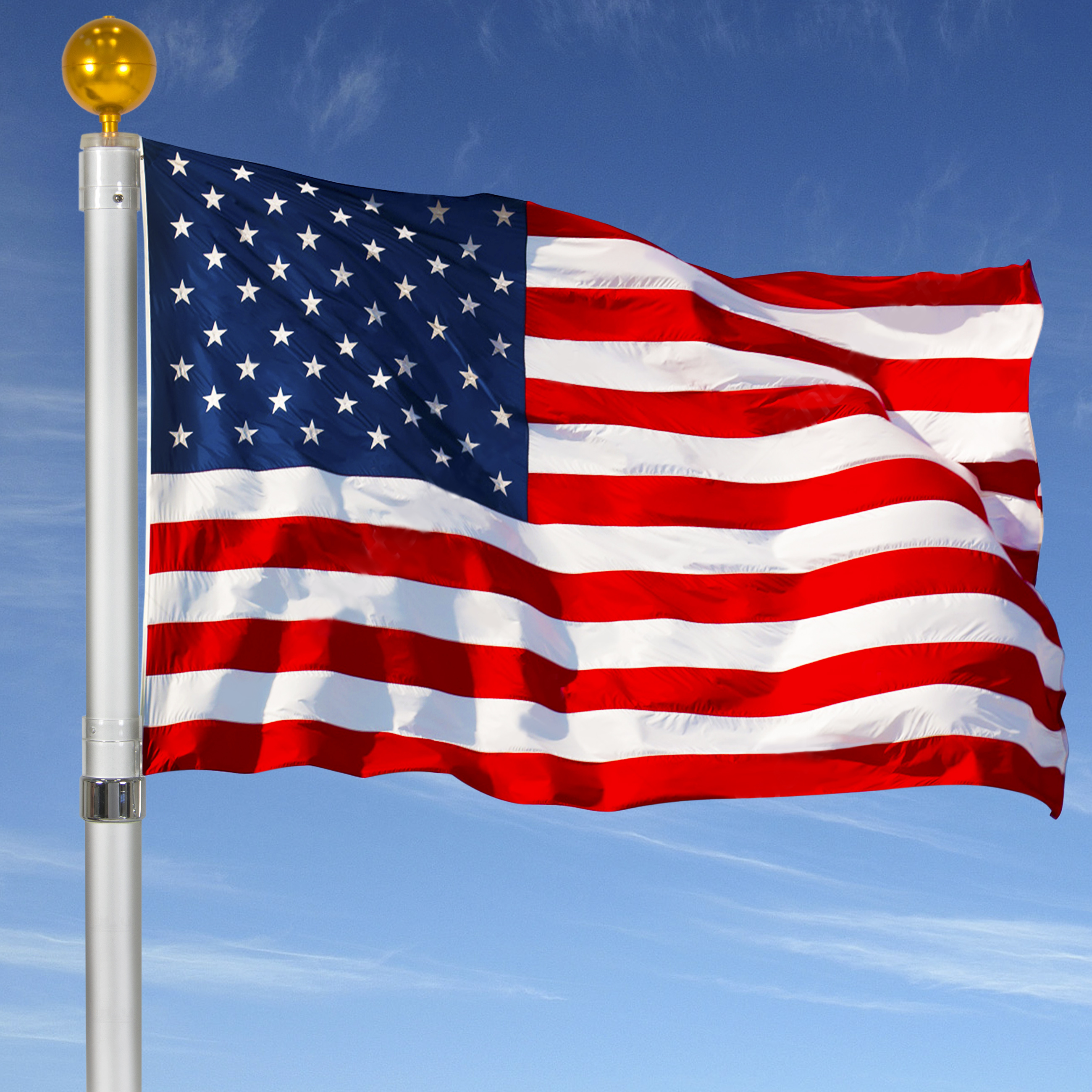 Flagpole Telescopic 16' Aluminum Flag Pole Outdoor Garden Solid Construction new