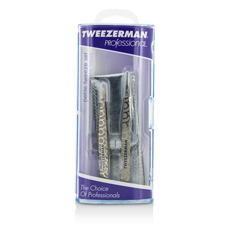 Tweezerman - Professional Petite Tweeze Set: Slant Tweezer + Point Tweezer - (Regency Finish w/ Silver Leather Case)