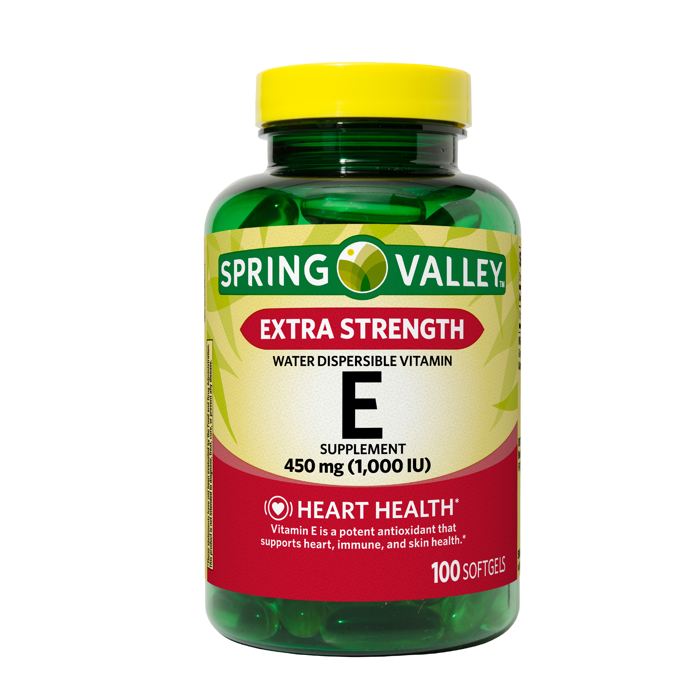 Spring Valley Extra Strength Water Dispersible Vitamin E Softgels 450 Mg 1000 Iu 100 Ct Walmart Com Walmart Com
