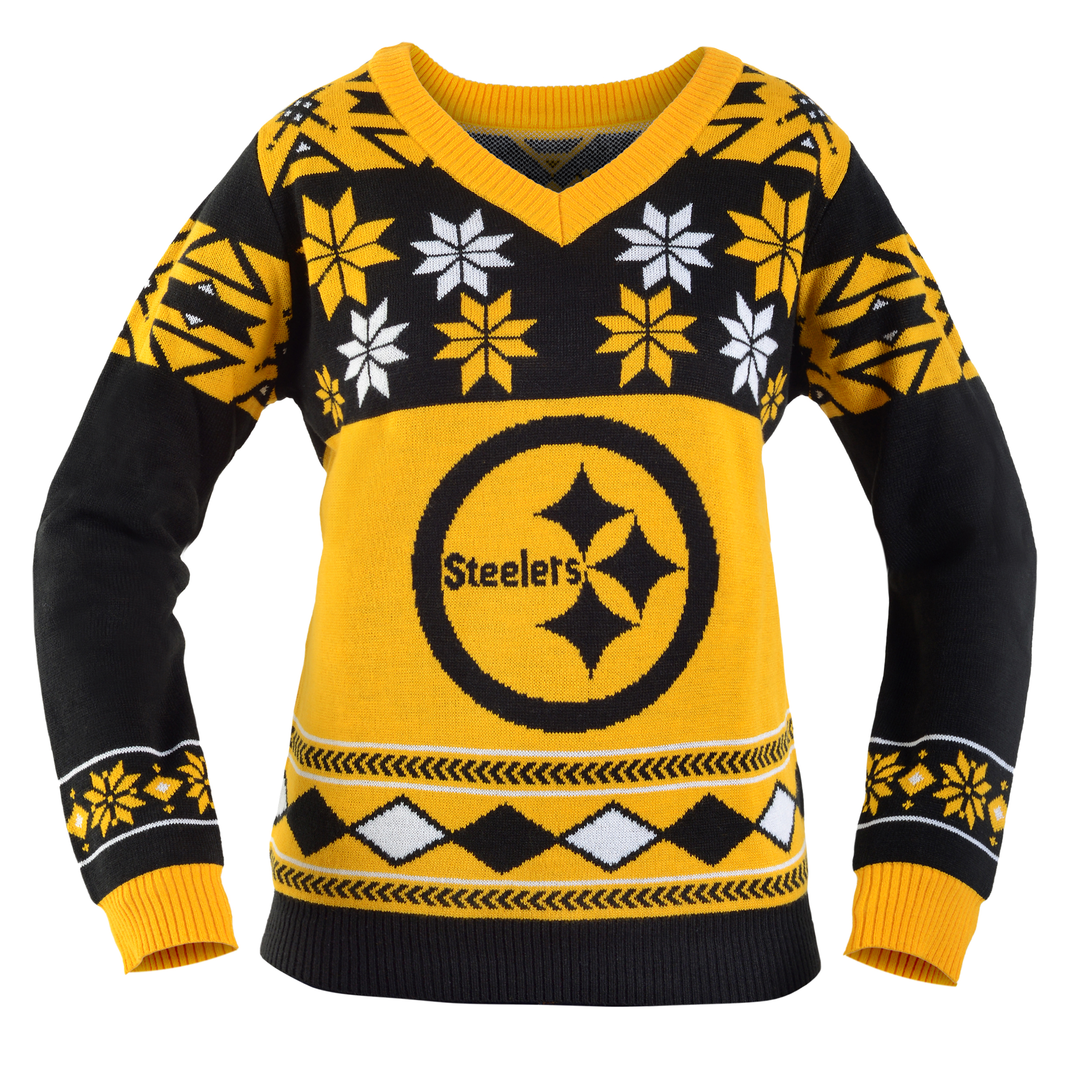 Pittsburgh Steelers Women\'s NFL V-Neck Ugly Sweater - Walmart.com