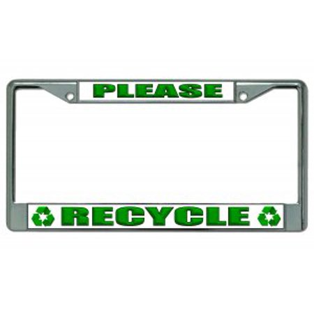 - Please Recycle Chrome License Plate Frame