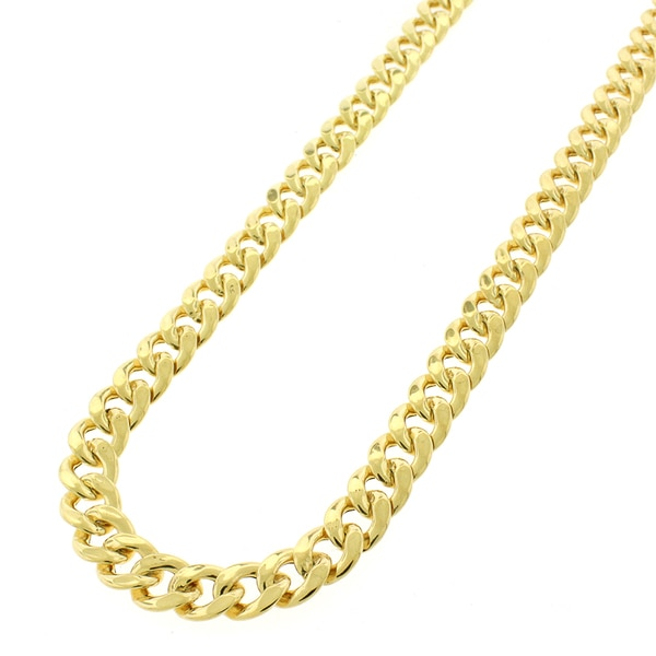 ".925 Sterling Silver 7.5mm Hollow Miami Cuban Curb Link Yellow Gold Plated Chain Necklace 24"" - 30"""