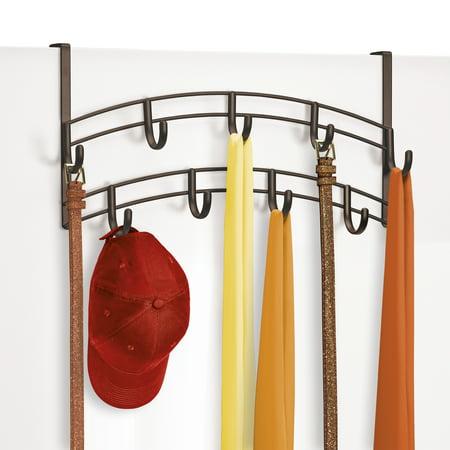 Lynk ® Over Door Accessory Holder - Scarf, Belt, Hat, Jewelry Hanger - 9 Hook Organizer Rack - Bronze