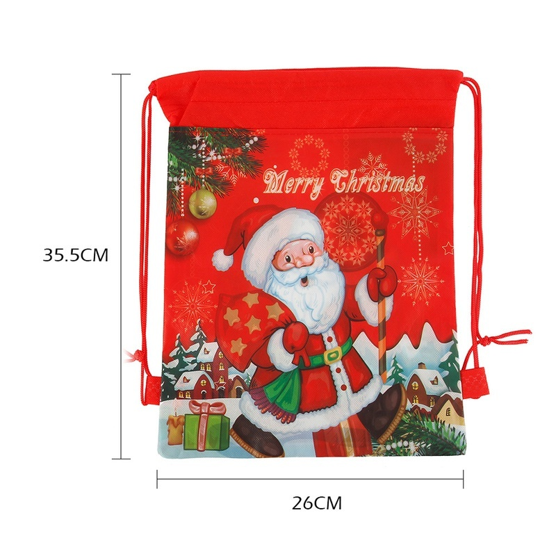 10PCS Christmas Gift Storage Bag Drawstring Candy Toy Pouches Xmas Decoration