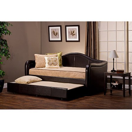 Hillsdale Furniture Brenton Faux Leather Twin Daybed with Trundle, Espresso - Hillsdale Furniture Brenton Faux Leather Twin Daybed With Trundle
