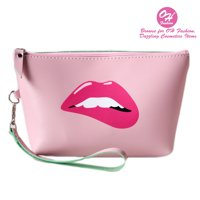 OH Fashion Women Travel Cosmetic Bag Sassy Lips, Makeup case organizer, toiletry bag, ideal for storage, make up brushes , manicure pedicure , for handbag 1 count