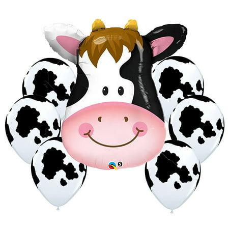 Barnyard Cow Balloon Bouquet Cow Theme Balloons](Cow Print Balloons)