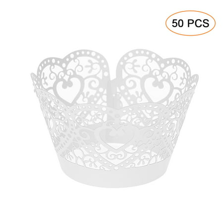 50pcs/set Paper Cupcake Wrappers Laser Cut Lace Cake Cup Liners Trays Baking Decorations Supplies--White - Superhero Cupcake Liners
