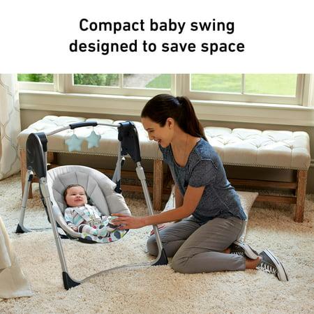 Graco Slim Spaces™ Compact Baby Swing, Space-Saving Design, Tilden