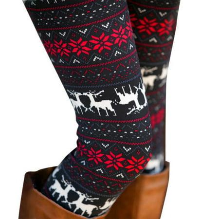 Women Print Christmas Xmas Nordic Elastic Winter Knitted Warm Leggings Pants - Ugly Christmas Leggings