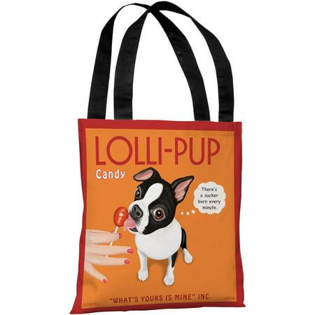 """Lolli-Pup Boston Terrier"" 18""x18"" Tote Bag by Retro Pets"