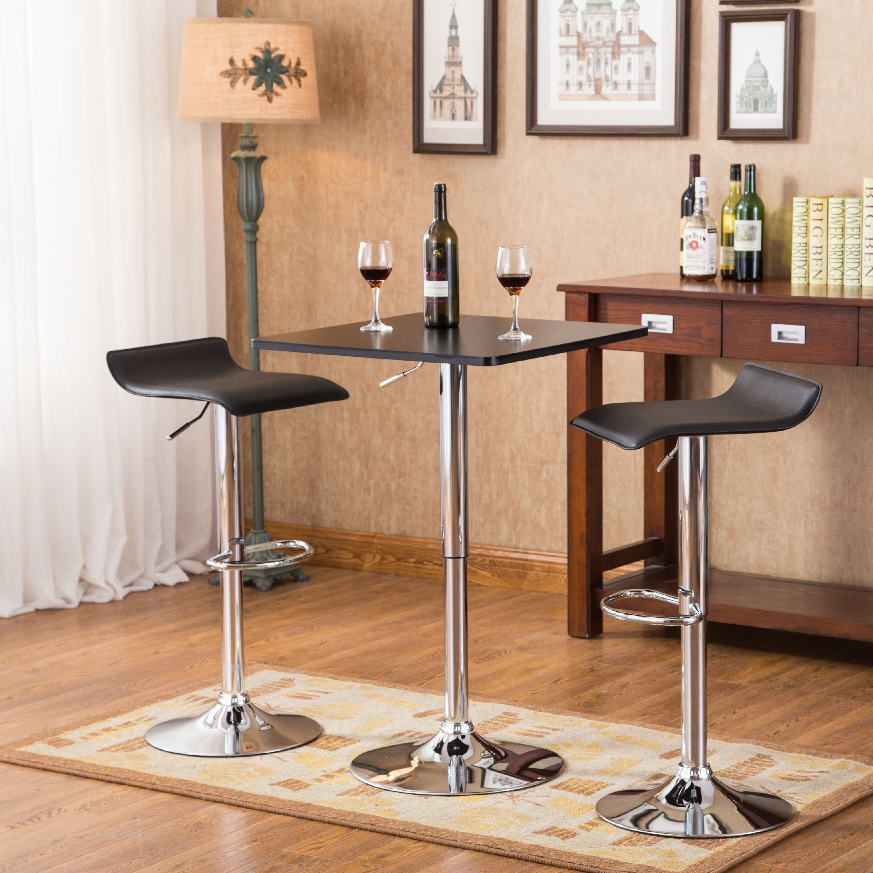 Roundhill Furniture Baxton Black Square Top Adjustable Height Wood & Chrome Metal bar Table & 2 Black Chrome Air Lift Adjustable Swivel Stools Set