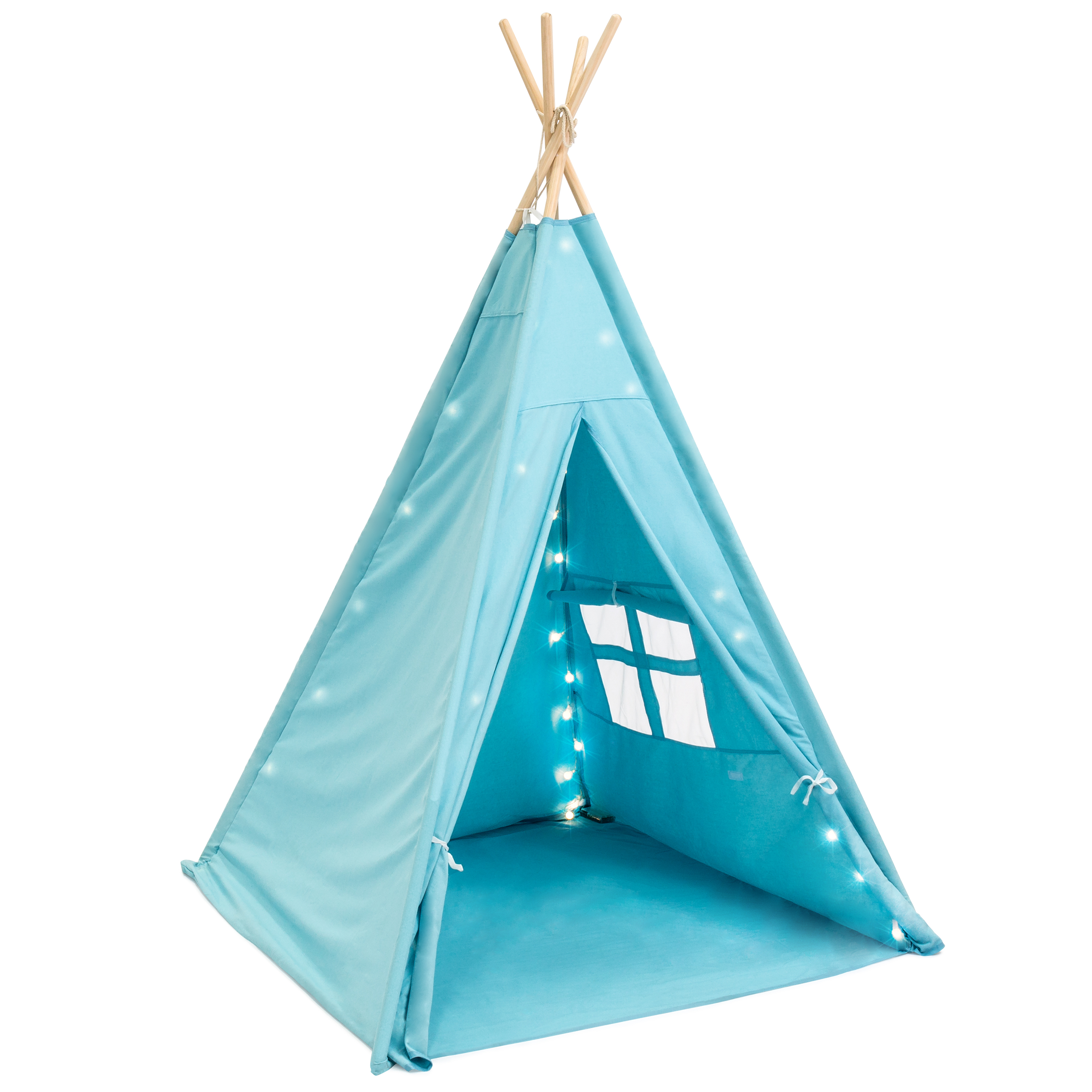 Best Choice Products 6FT Kids Light Up Teepee Play Tent w  Carry Case, Mat (Light Blue) by