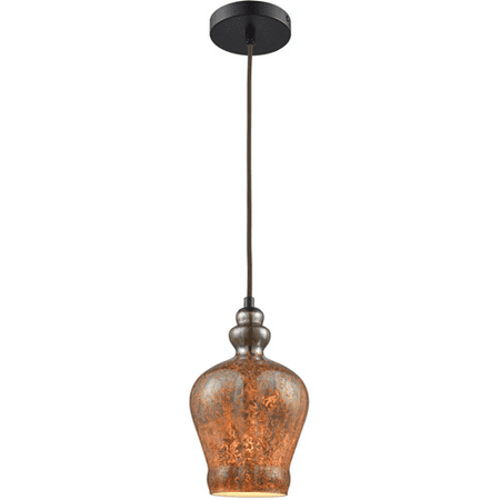 Pendants 1 Light With Oil Rubbed Bronze Finish Black Chrome Plated with Fiery Lava Tones Medium Base 6 inch 60 Watts - World of Lamp