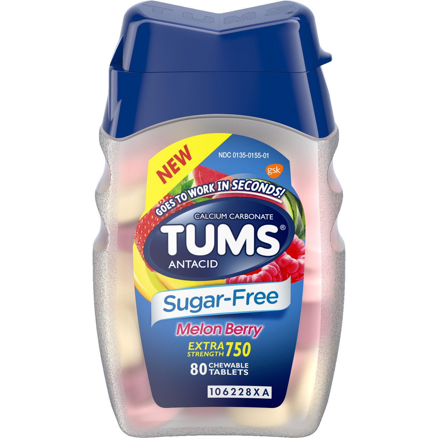 (2 Pack) Tums sugar-free antacid chewable tablets for heartburn relief, extra strength, melon berry, 80 table