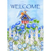 "Patriotic Birdhouse Summer Garden Flag Bluebirds Flowers Welcome 12.5""x18"""
