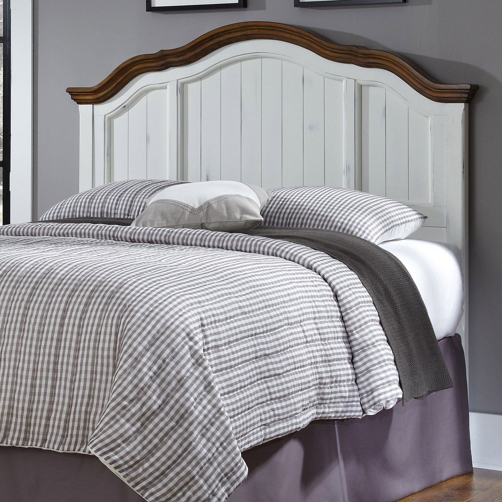 The French Countryside Oak and Rubbed White Full/Queen Headboard