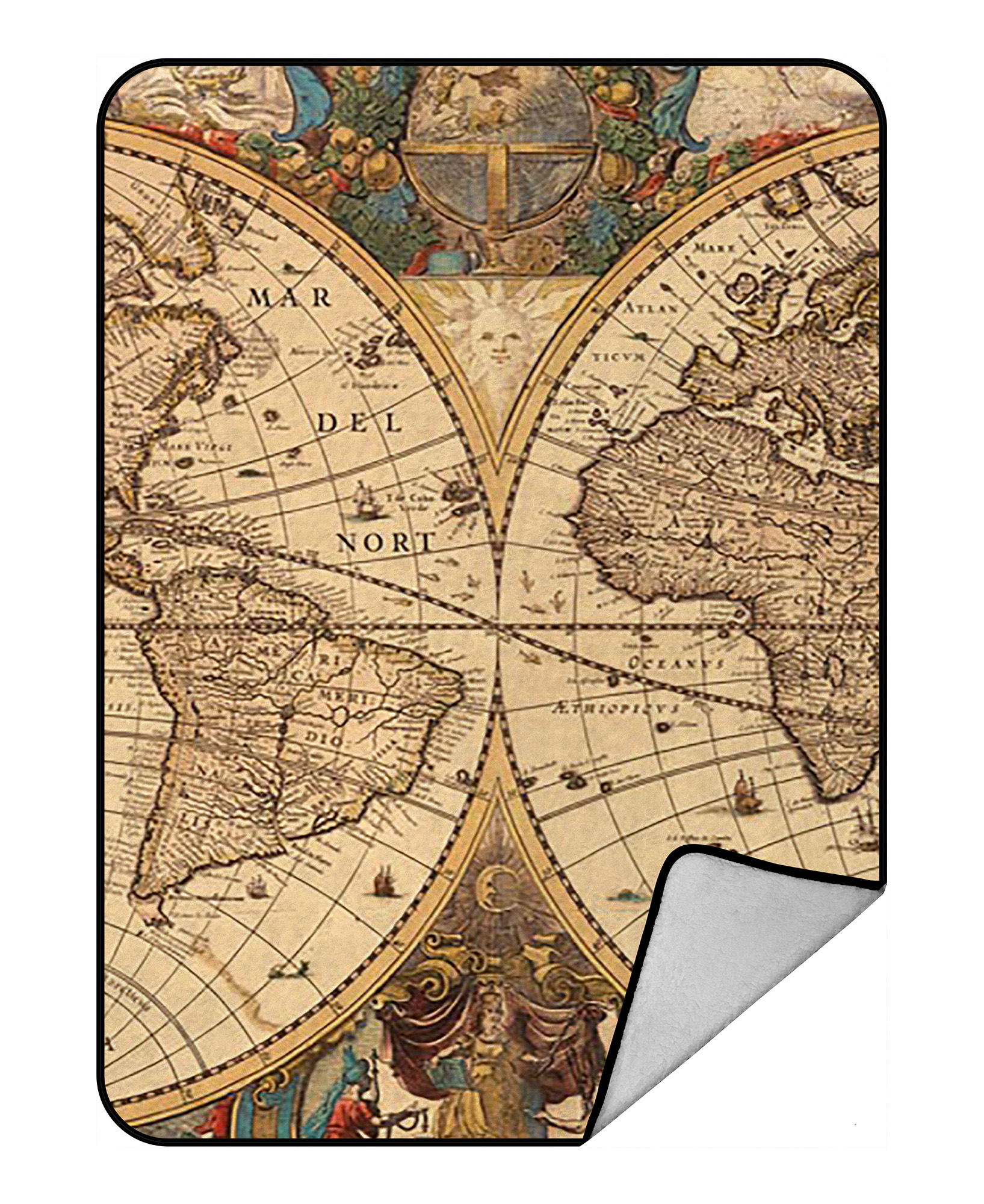 Gckg World Map Blanket Vintage Retro World Map Fleece Blanket