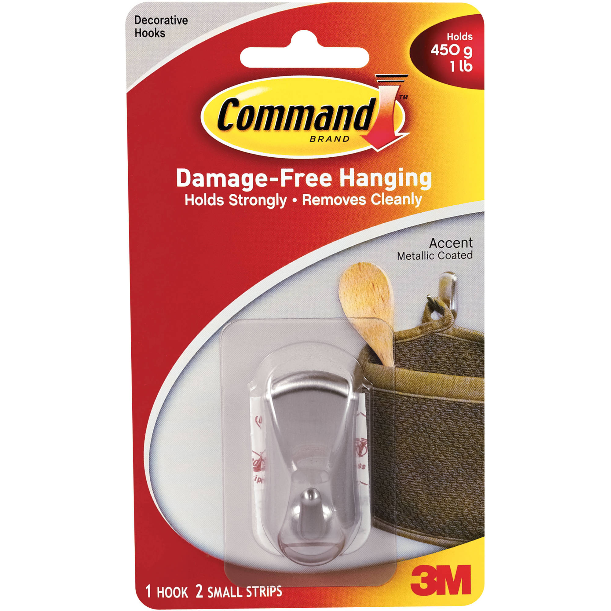 Command Small Accent Hook, Brushed Nickel, 1 Hook, 2 Strips, 17072BN