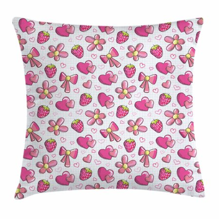 Pink and White Throw Pillow Cushion Cover, Childhood Sweetheart Theme Page with Romantic Cute Doodles Print, Decorative Square Accent Pillow Case, 16 X 16 Inches, Pink White Yellow, by Ambesonne](Sweet 16 Themes Ideas)
