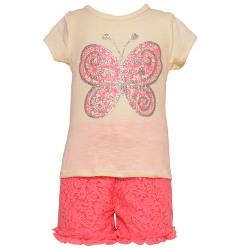 2 Be Real Little Girls Coral Butterfly Applique Lace 2 Pc Shorts Set 2-4T