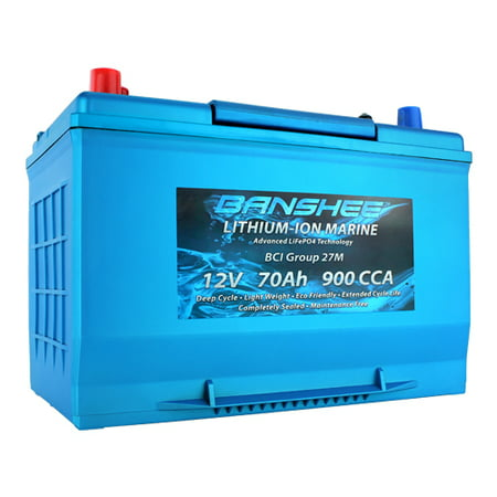 Dual Purpose Deep Cycle Lithium Marine Trolling Battery Group 27 Replaces Optima D27M 900CCA