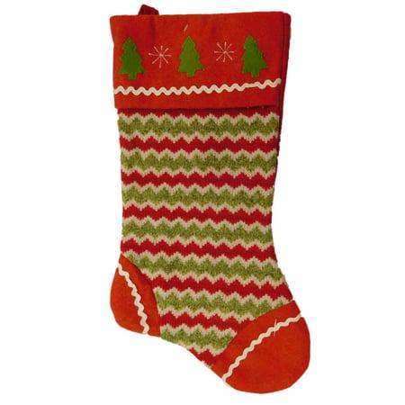 Embellished Red   Green Chevron Stripes Felt Christmas Tree Holiday Stocking