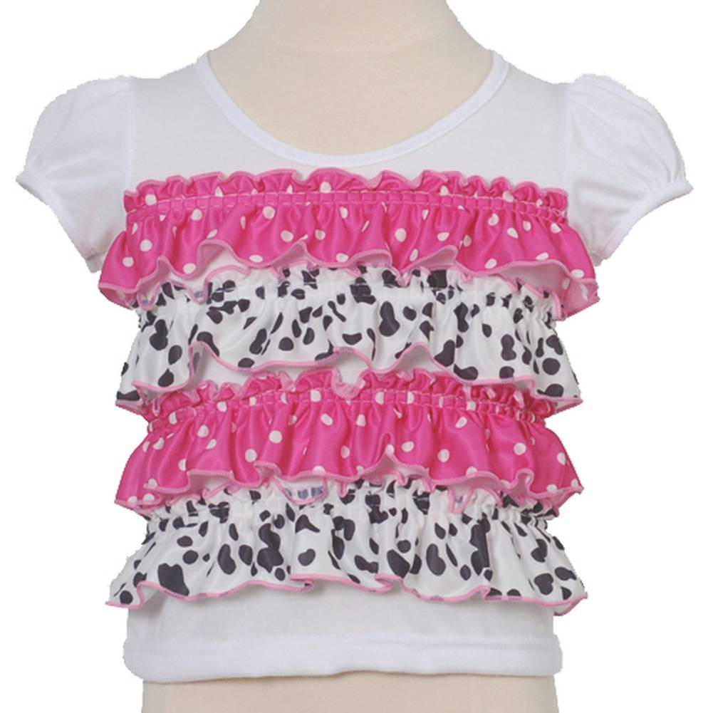 Laura Dare Pink White Ruffled Polka Dot Infant Baby Girl Shirt 9M
