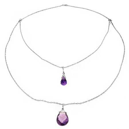 Briolette Drop Necklace (ALARRI 14K Solid White Gold Front And Back Drop Necklace w/ Briolette Amethysts with 24 Inch Chain)