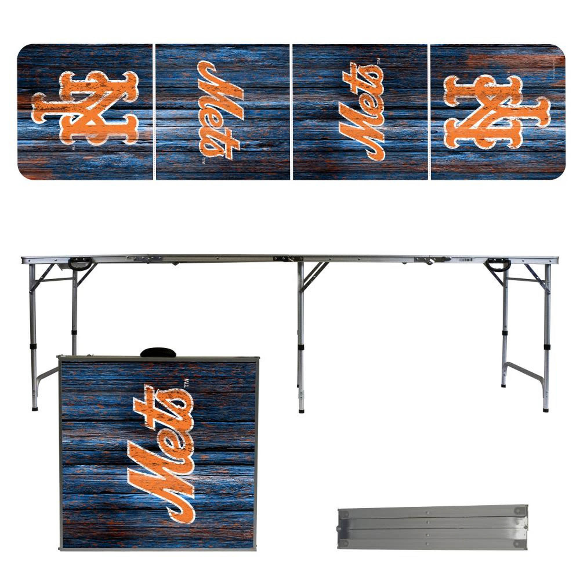 New York Mets Weathered Design 8' Portable Folding Tailgate Table - No Size