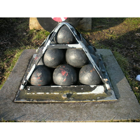 Canvas Print Iron Iron Pyramid Cannon Balls Old Bolted Cement Stretched Canvas 10 x 14