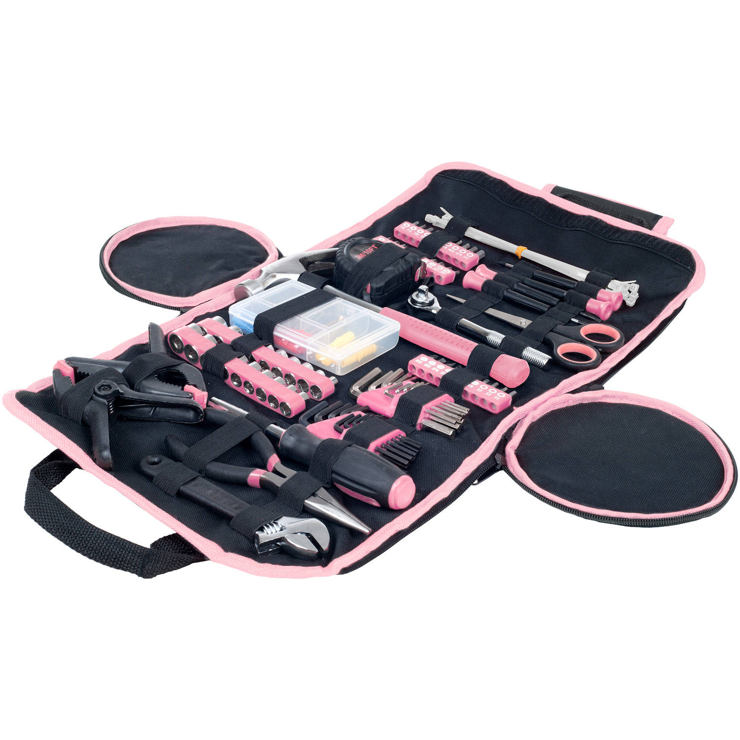 Stalwart 86-Piece Household Hand Tool Set With Roll-Up Bag, Pink | 75-HT2086