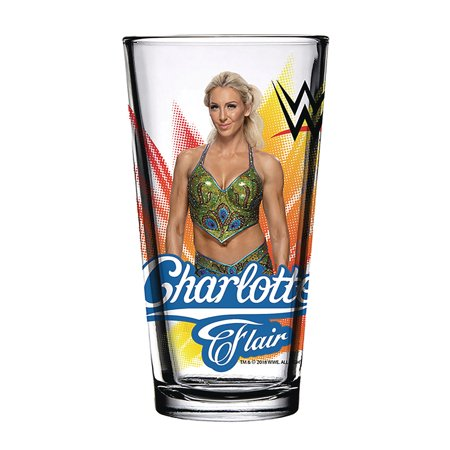 Official WWE Authentic Charlotte Flair 2018 Toon Tumbler Pint Glass (Charlotte Glasses)