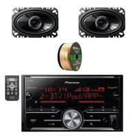 Pioneer Vehicle Digital Media 2DIN Receiver with Bluetooth W/Pioneer 250W 6.8 Inch 2-Way Coaxial Car Audio Speakers 2-pairs & Enrock Audio 14 AWG Gauge 50 Feet Speaker Wire Cable Copper Clad Aluminum.