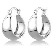 Women's Brass Rhodium 3.88(g) Hoops & Huggies Earrings