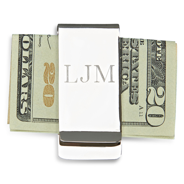 Personalized Monogrammed Nickel Money Clip