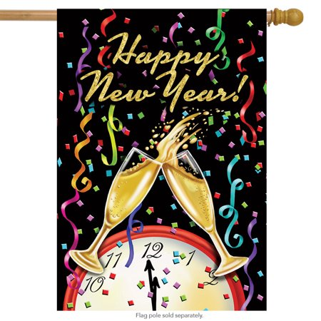 Happy New Year House Flag Champagne Confett Clock 28