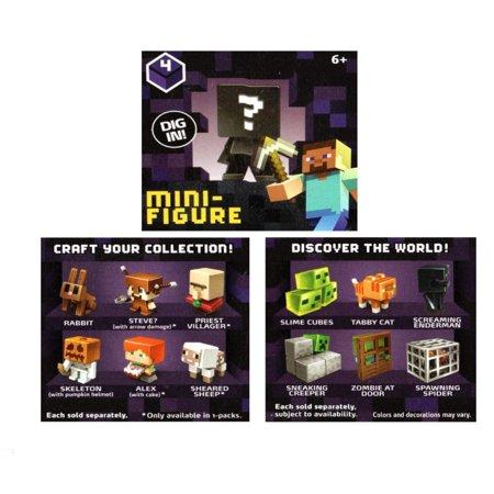 Minecraft Minifigures, Obsidian Series 4, 3 Pack](Black Skin Minecraft)