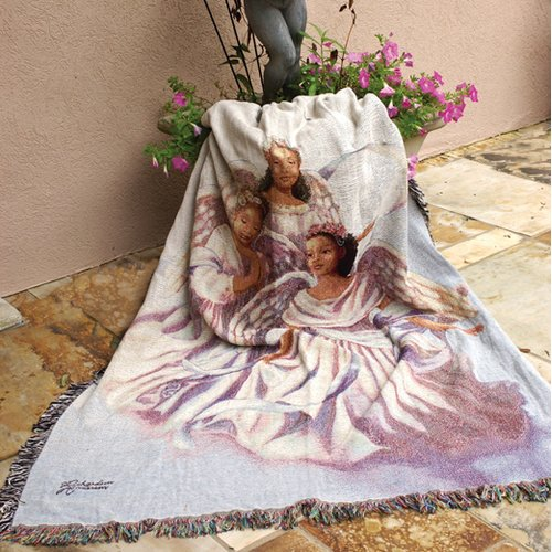 Manual Woodworkers & Weavers Angelic Trio Tapestry Cotton Throw