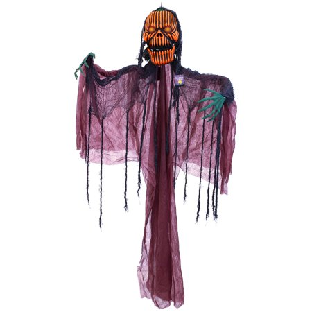 Halloween Haunters Animated Hanging Pumpkin Man with Moving Jaw, Light-Up Eyes & Sound - Prop Decoration - Evil Entity Animated Halloween Prop