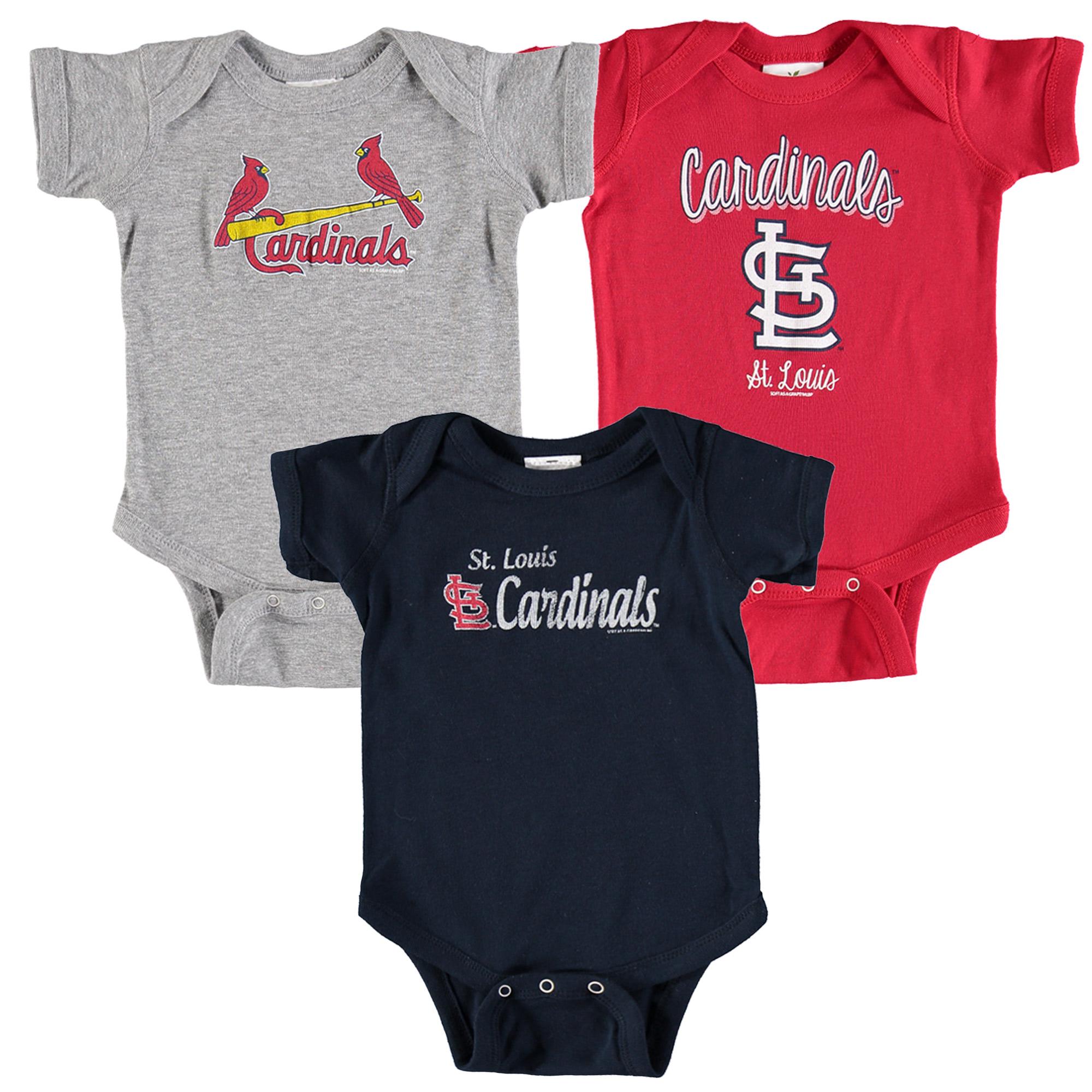 St. Louis Cardinals Soft as a Grape Infant 3-Pack Rookie Bodysuit Set - Red