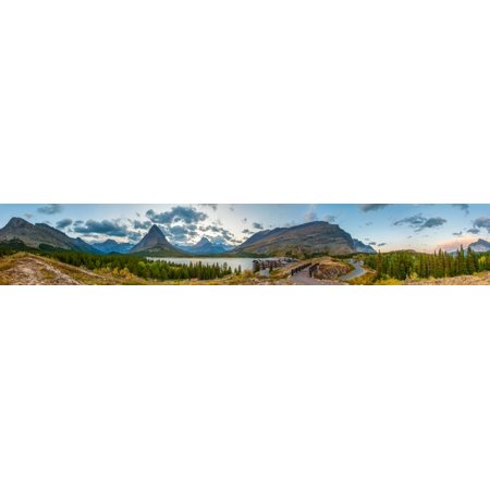 View Of Swiftcurrent Lake Many Glacier Hotel And Mount Grinnell At Sunset Glacier National Park Montana Usa Canvas Art   Panoramic Images  36 X 12