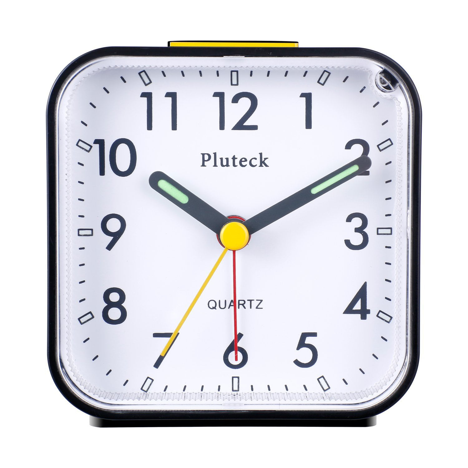 Pluteck Non Ticking Analog Alarm Clock with Nightlight and Snooze_Ascending  Sound Alarm_Simple to Set Clocks_ Battery Powered
