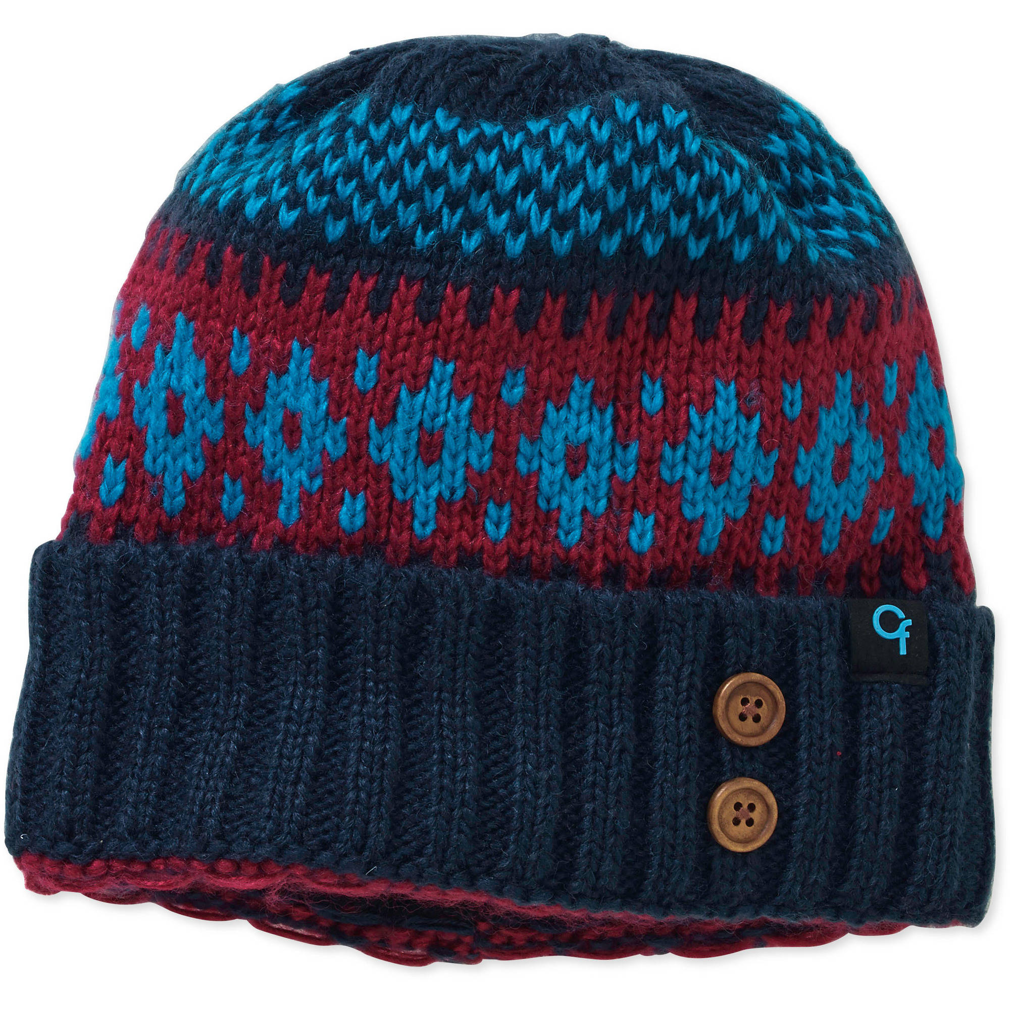 Women's Patterned Cuff Fleece Lined Knit Beanie Hat
