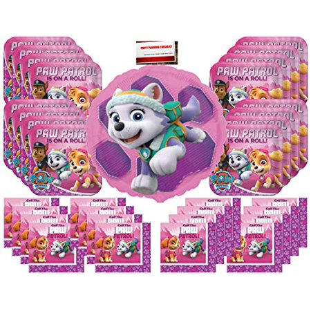 Girl Pups Paw Patrol Sky & Everest Party Supplies Bundle Pack for 16 guests (Bonus 17 Inch Balloon Plus Party Planning Checklist by Mikes Super Store) - Cheap Party Supply Stores