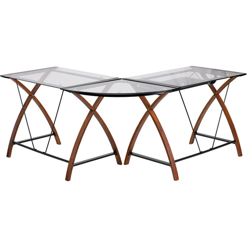 Flash Furniture L Shaped Glass Computer Desk With Pull Out
